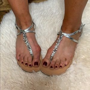 Yellow Box Crystal Silver Sandal Size 9